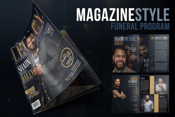 magazine style funeral program