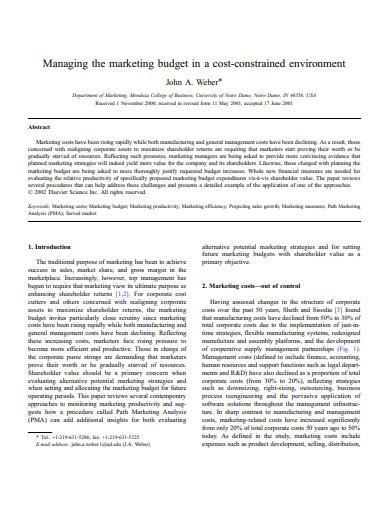 managing the marketing budget plan