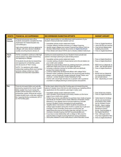 marketing plan calendar and budget