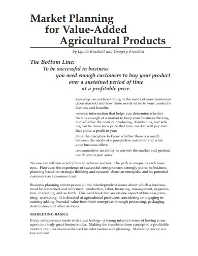 marketing plan for agricultural new product