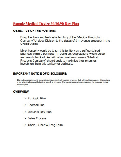 medical device 30 60 90 day plan