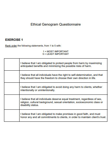 medical ethical genogram questionnaire
