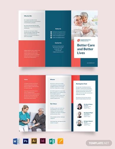medical home care tri fold brochure templates