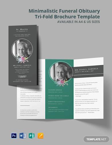 minimalistic funeral obituary tri fold brochure template
