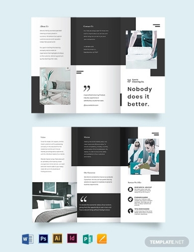 modern cleaning company tri fold brochure templates