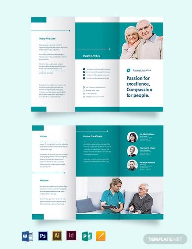 modern home care tri fold brochure template
