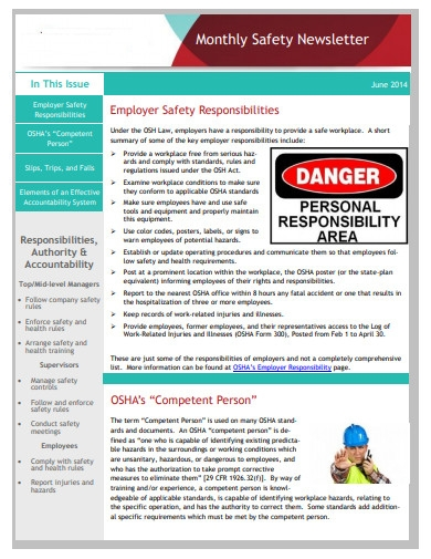 monthly health and safety newsletter