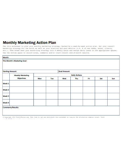 monthly marketing action plan