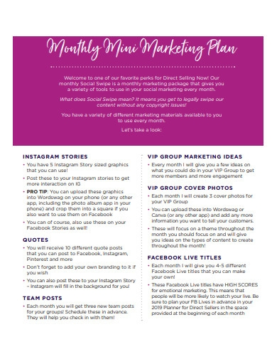 monthly mini marketing plan