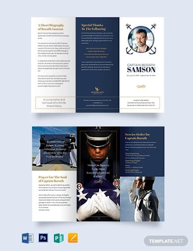 navy honors funeral program tri fold brochure template