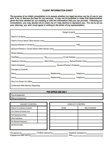 new client information sheet