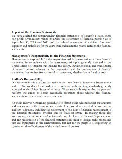 nonprofit audit financial report