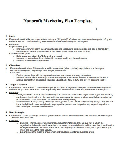 nonprofit marketing strategic plan example