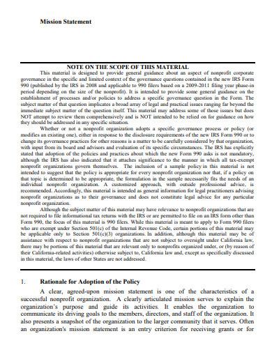 nonprofit organization mission statement
