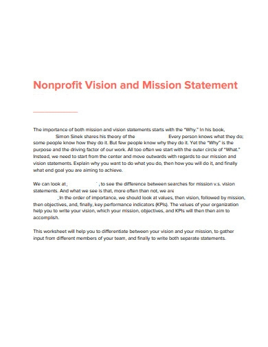 nonprofit vision and mission statement