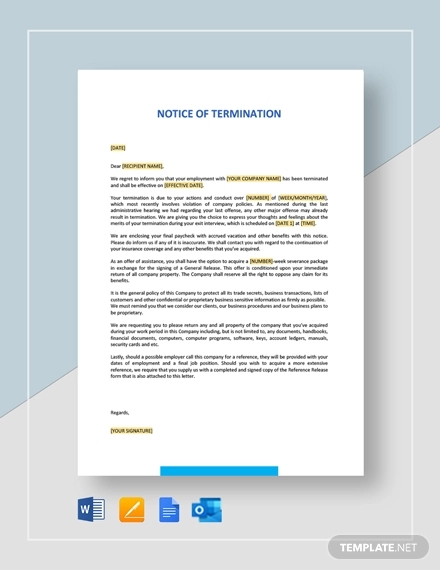 notice of intent to terminate template
