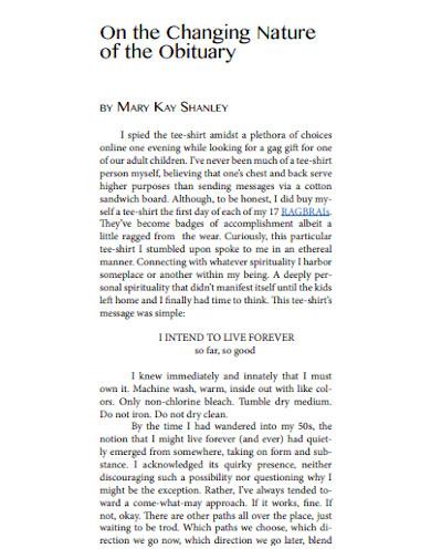 obituary format examples