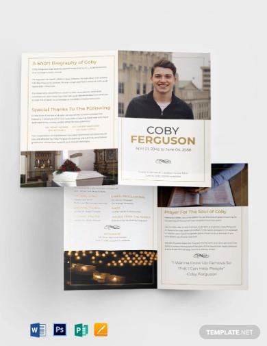 order of service funeral program bi fold brochure template