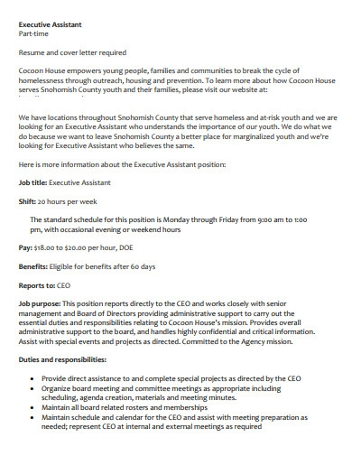 printable executive assistant cover letter