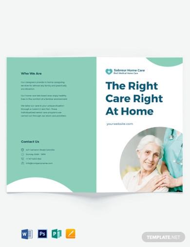 printable home care bi fold brochure template