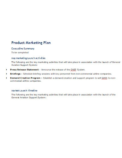 product marketing plan example
