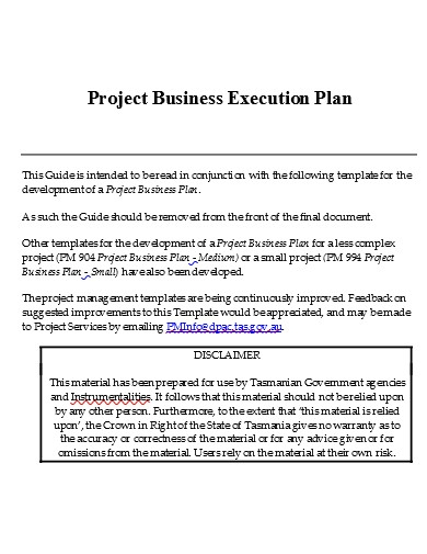 project business execution plan example