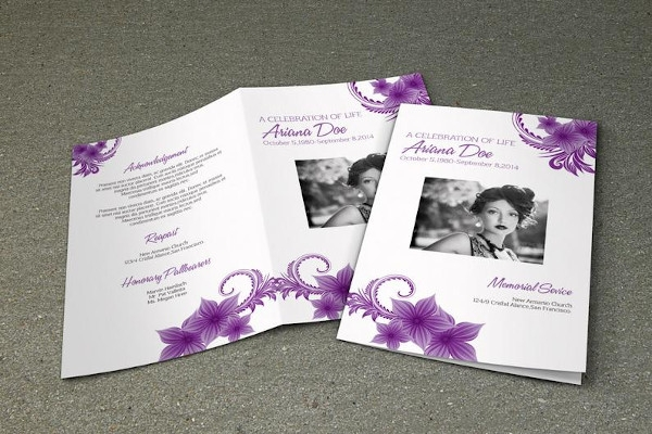 purple flower funeral program brochure template