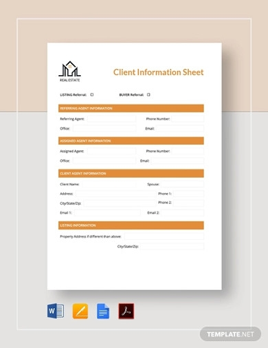 real estate client information sheet