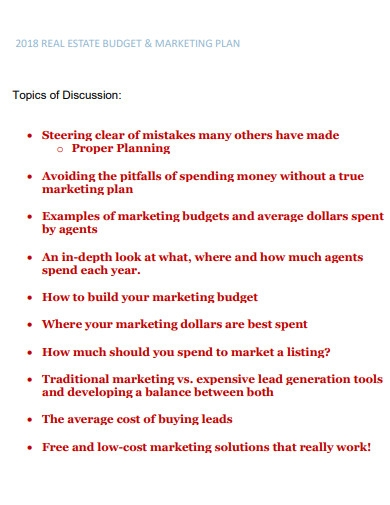 real estate marketing budget plan