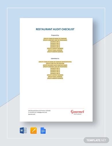 restaurant audit checklist example
