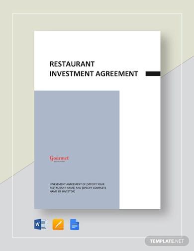 restaurant investment agreement