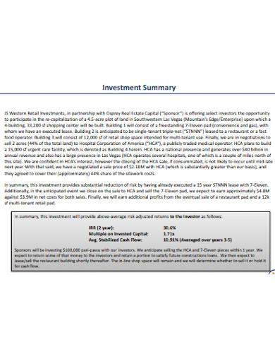 retail investment memo