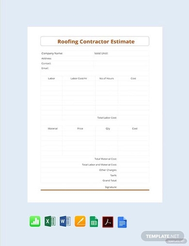 roofing contractor estimate
