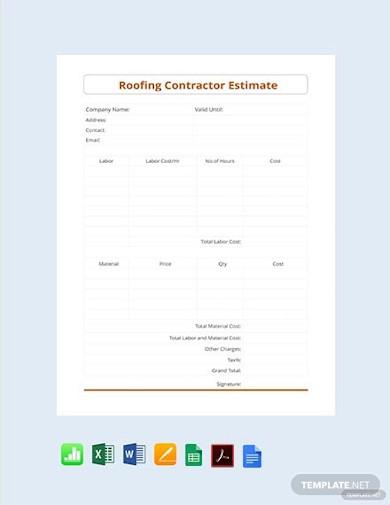roofing contractor estimate