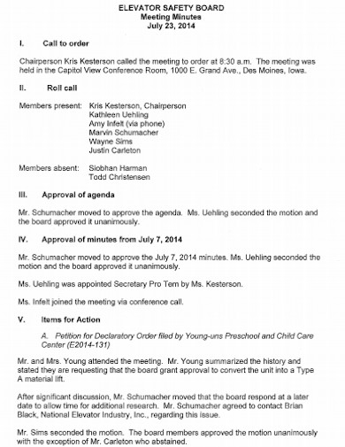 safety board meeting minutes template