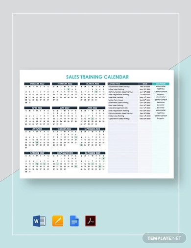 sales training calendar