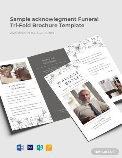 sample acknowledgement funeral tri fold brochure template