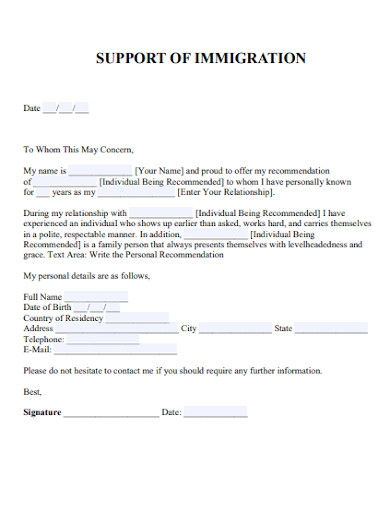 Family Member Immigration Reference Letter from images.examples.com