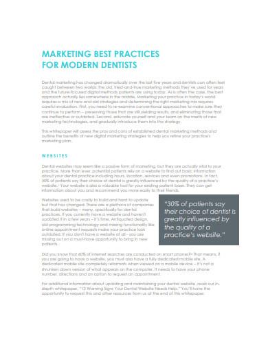 sample dental marketing plan
