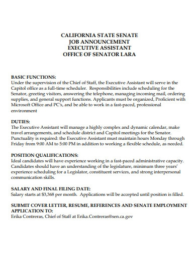 sample executive assistant cover letter