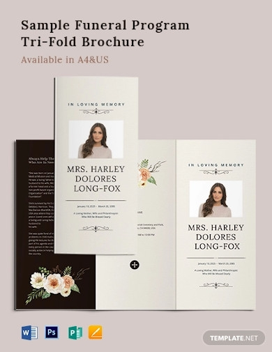 sample funeral program tri fold brochure template