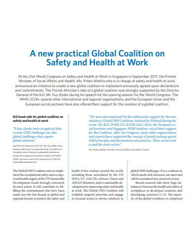 sample health and safety newsletter
