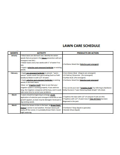 sample lawn care schedule