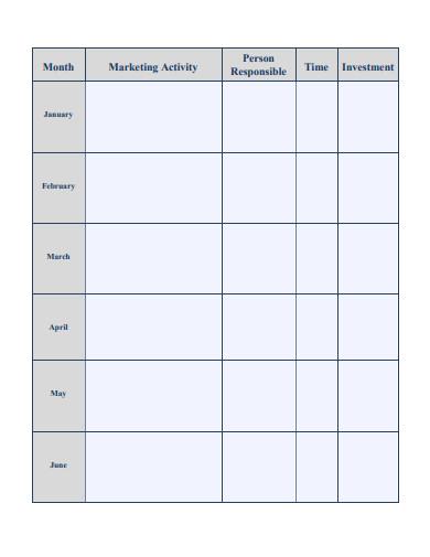 sample marketing planning calendar