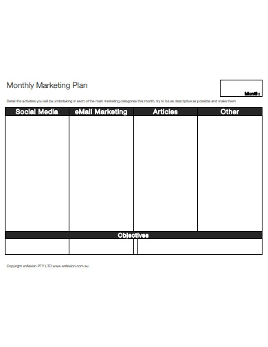 sample monthly marketing plan