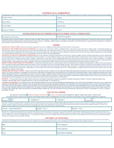 sample roofing contract agreement