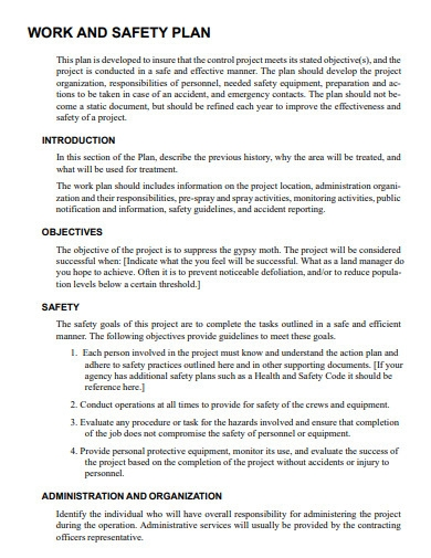 sample work and safety plan