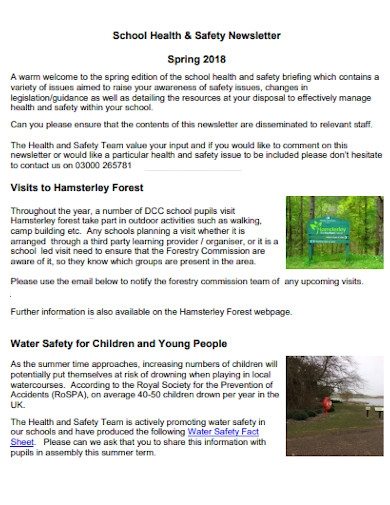 school health and safety newsletter example