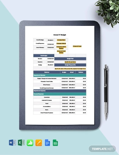 simple annual it budget template