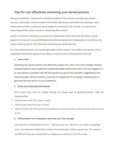 simple dental marketing plan